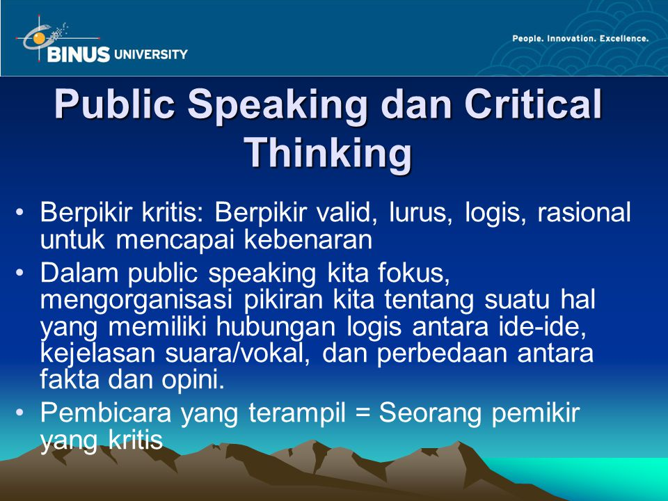 Public Speaking dan Critical Thinking