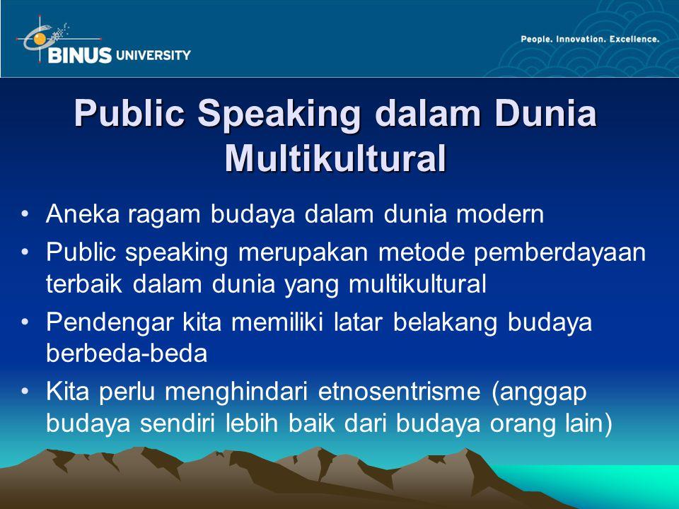 Public Speaking dalam Dunia Multikultural