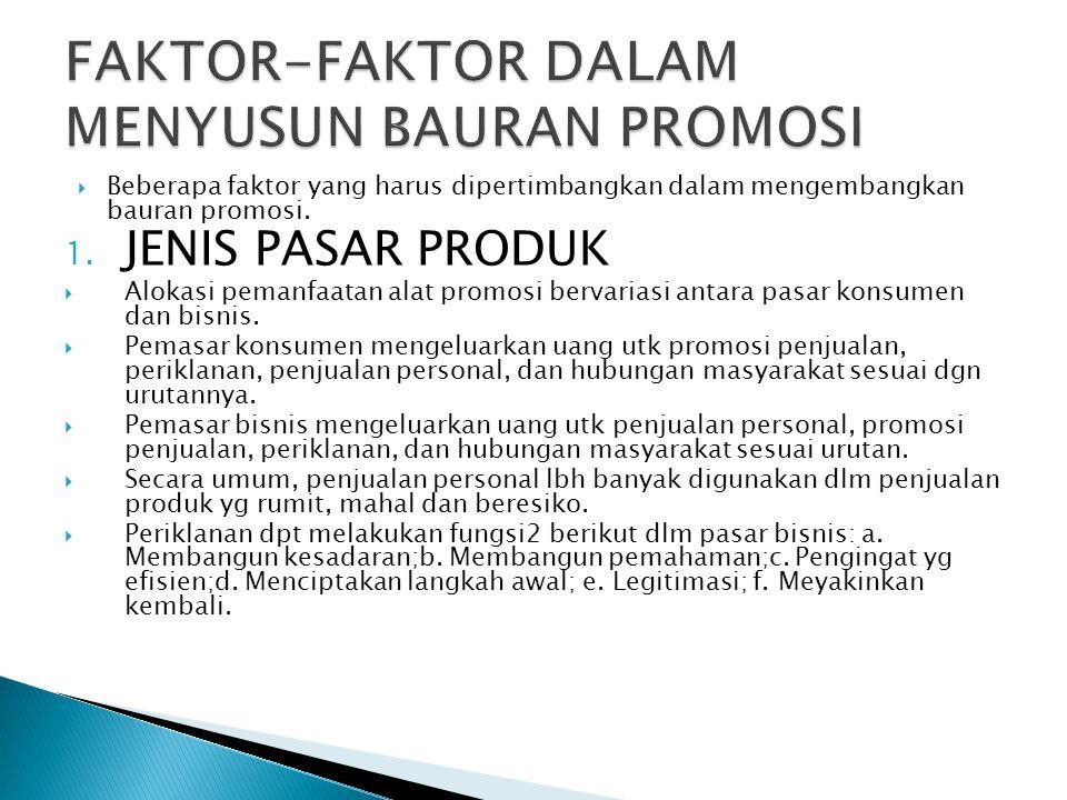 FAKTOR-FAKTOR DALAM MENYUSUN BAURAN PROMOSI