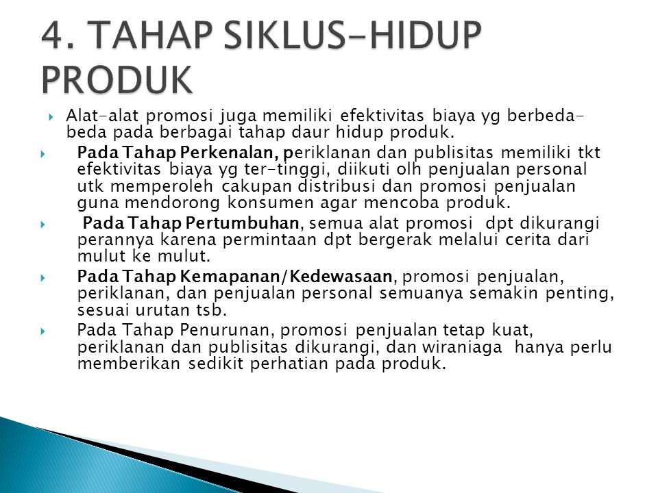 4. TAHAP SIKLUS-HIDUP PRODUK