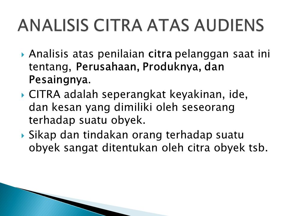 ANALISIS CITRA ATAS AUDIENS