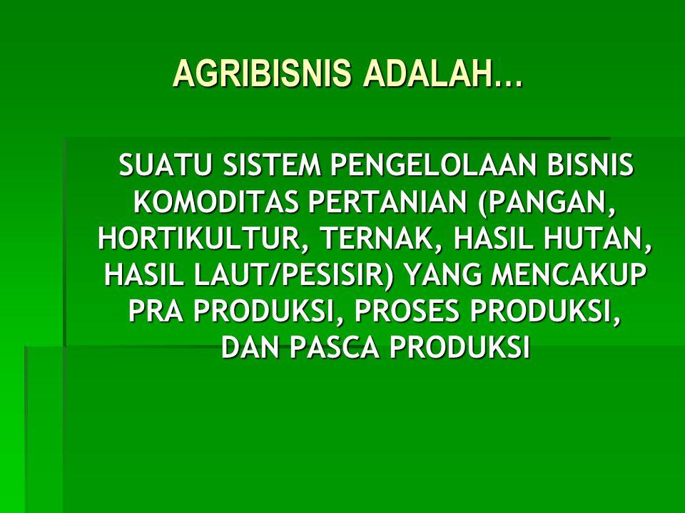 AGRIBISNIS ADALAH…