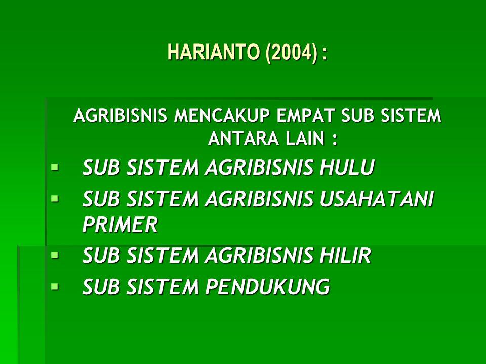 AGRIBISNIS MENCAKUP EMPAT SUB SISTEM ANTARA LAIN :