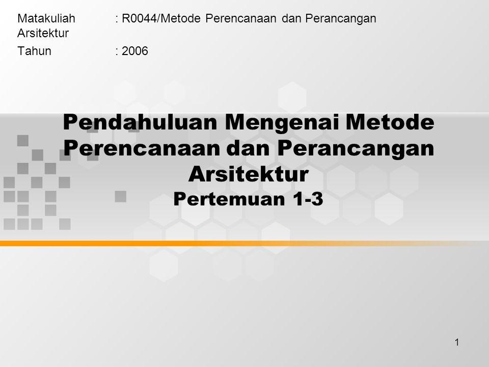 Matakuliah : R0044/Metode Perencanaan dan Perancangan Arsitektur
