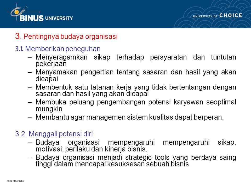 3. Pentingnya budaya organisasi