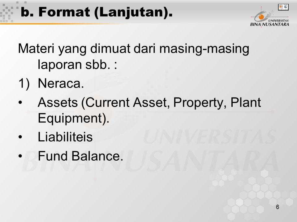 b. Format (Lanjutan). Materi yang dimuat dari masing-masing laporan sbb. : Neraca. Assets (Current Asset, Property, Plant Equipment).