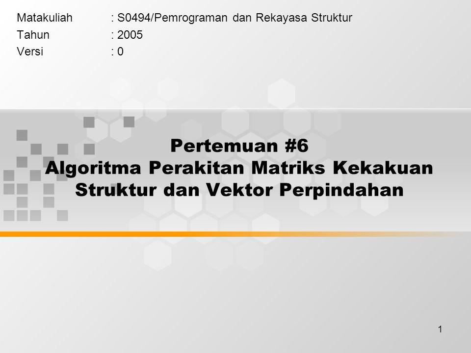Matakuliah : S0494/Pemrograman dan Rekayasa Struktur