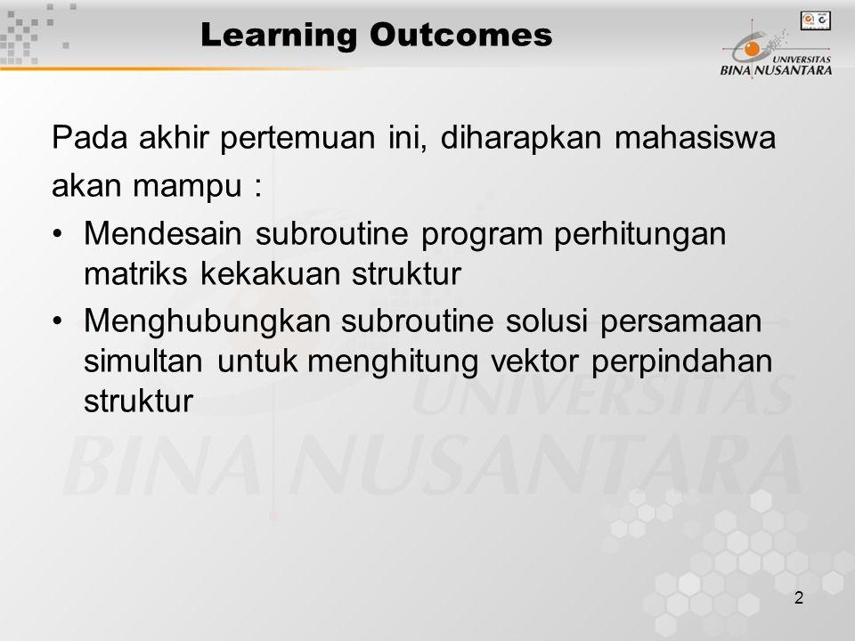 Learning Outcomes Pada akhir pertemuan ini, diharapkan mahasiswa. akan mampu : Mendesain subroutine program perhitungan matriks kekakuan struktur.