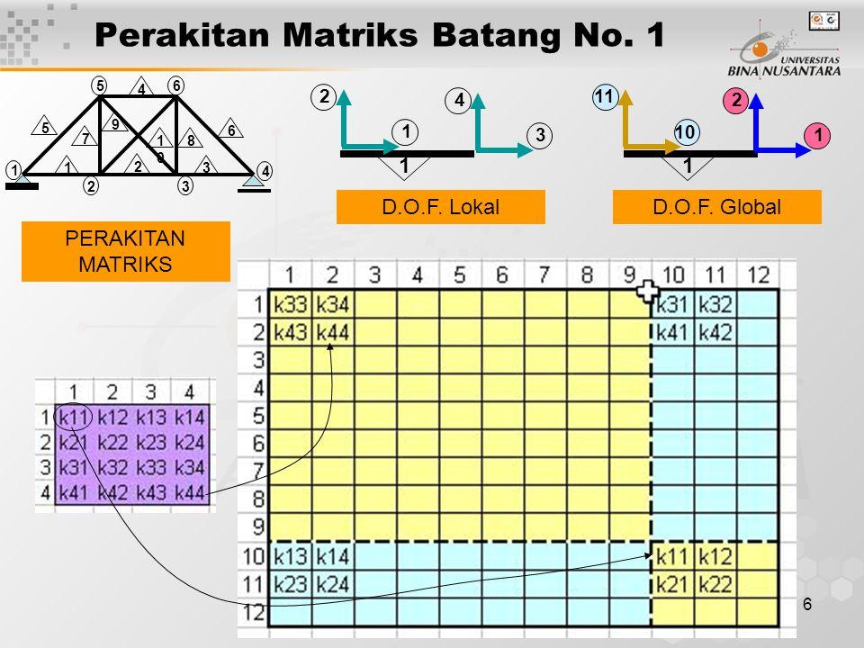 Perakitan Matriks Batang No. 1