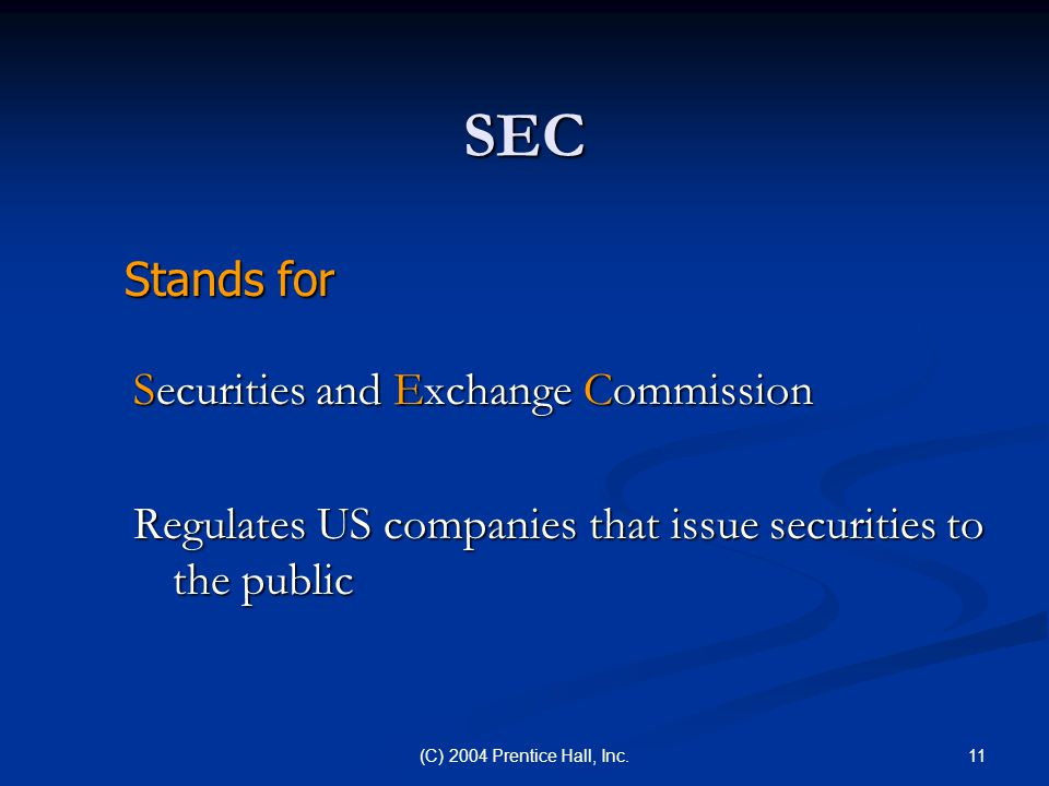 SEC Stands for Securities and Exchange Commission