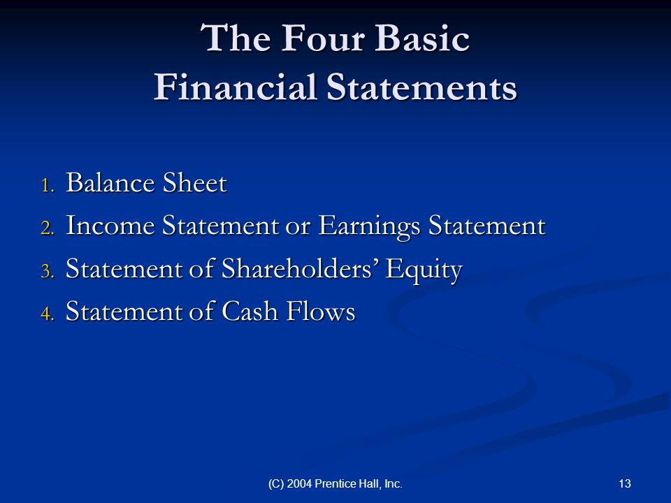 The Four Basic Financial Statements