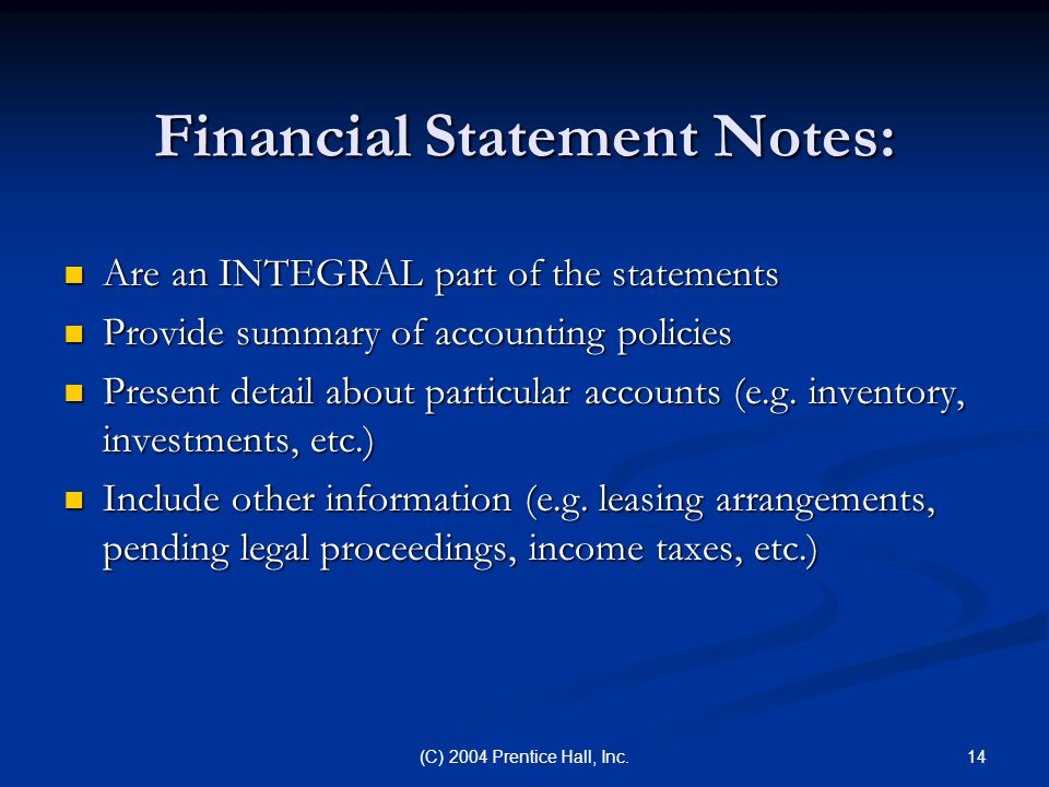 Financial Statement Notes: