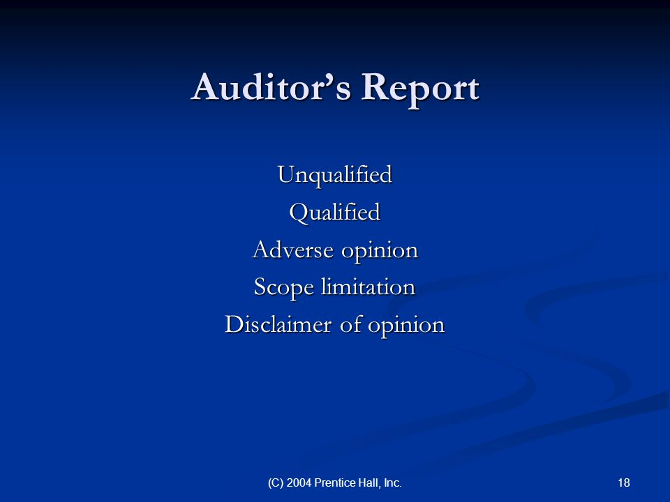 Auditor's Report Unqualified Qualified Adverse opinion
