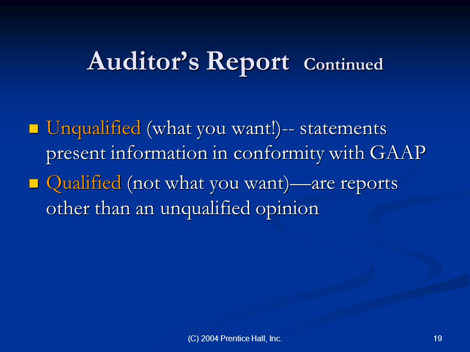 Auditor's Report Continued