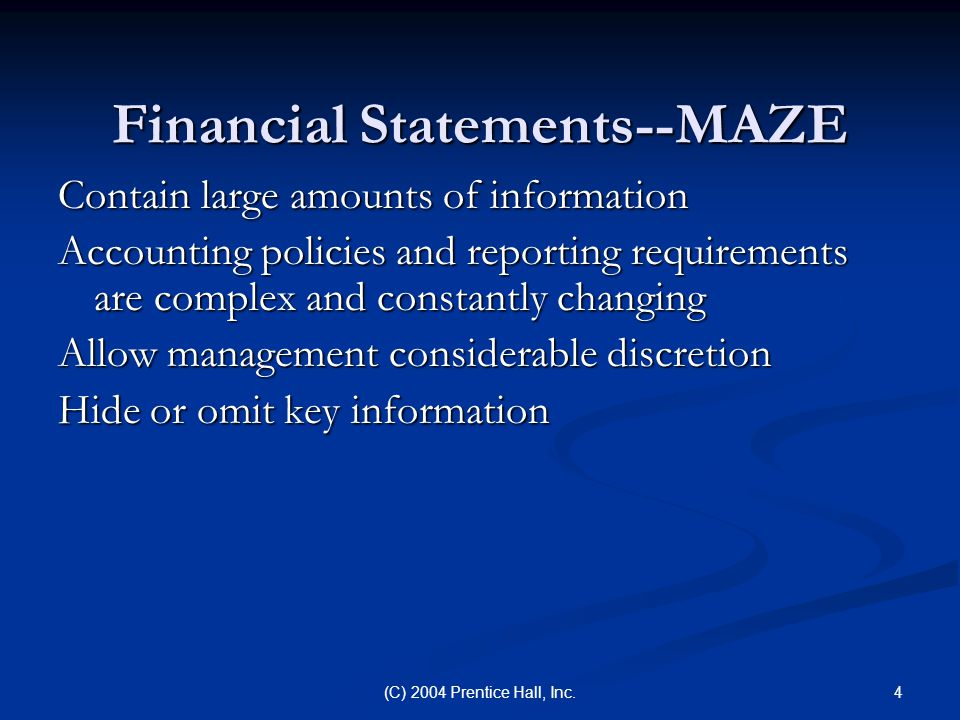 Financial Statements--MAZE
