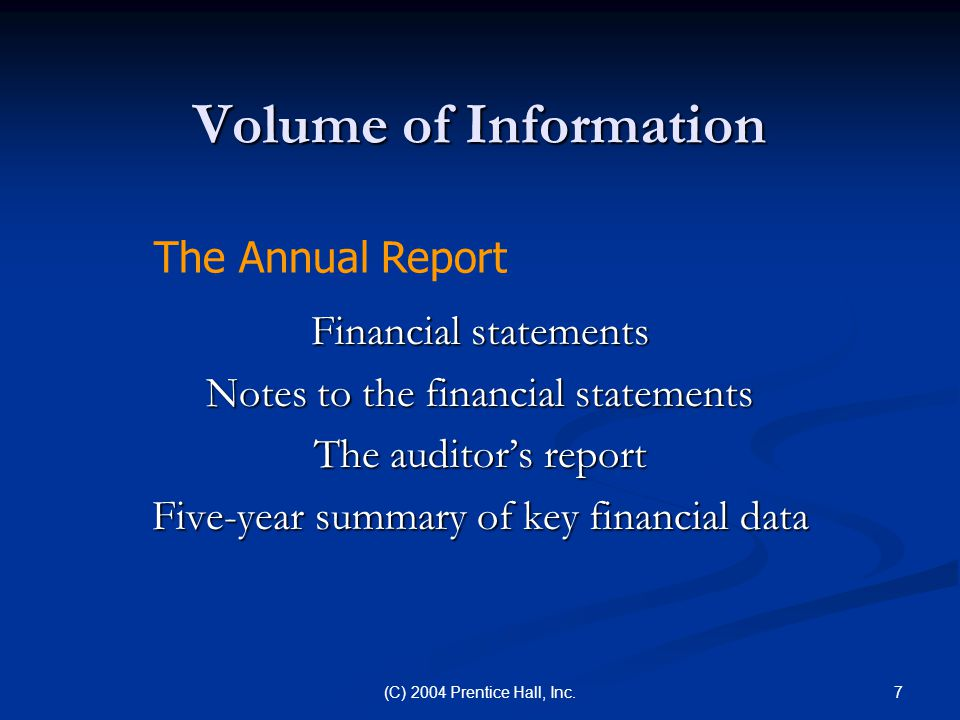 Volume of Information The Annual Report Financial statements