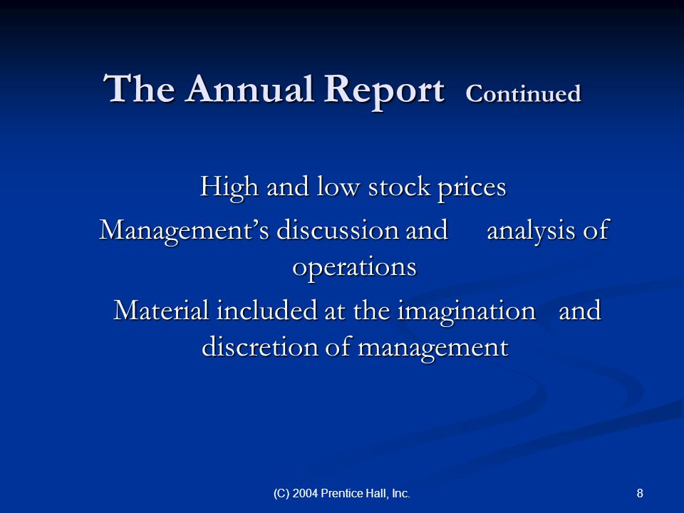 The Annual Report Continued