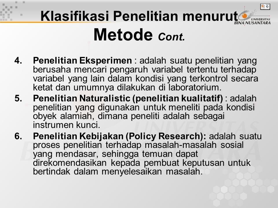 Klasifikasi Penelitian menurut Metode Cont.