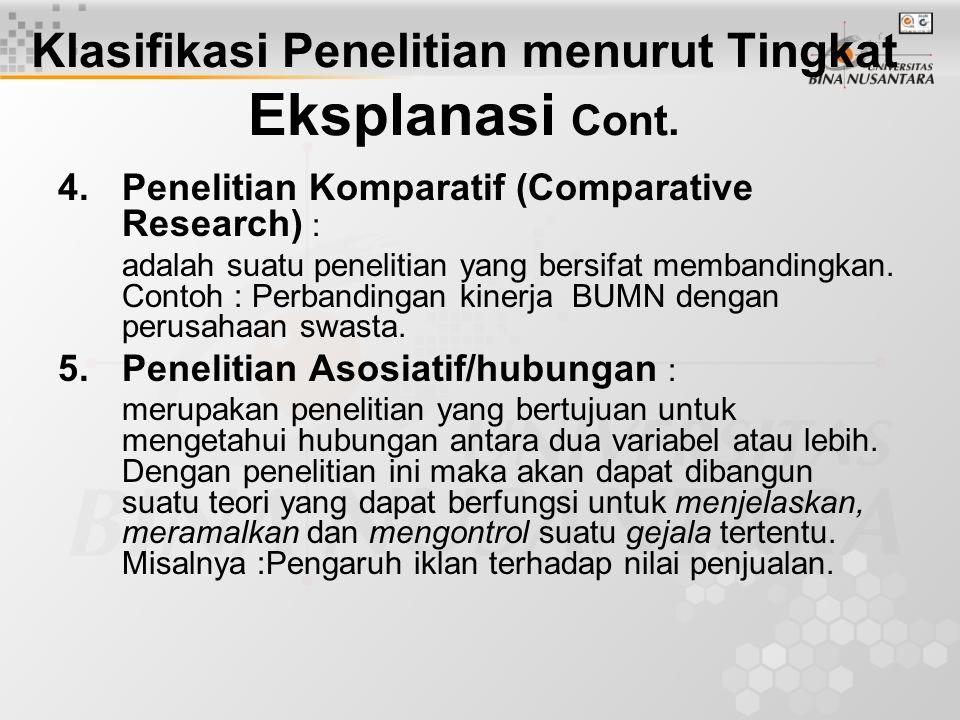 Klasifikasi Penelitian menurut Tingkat Eksplanasi Cont.