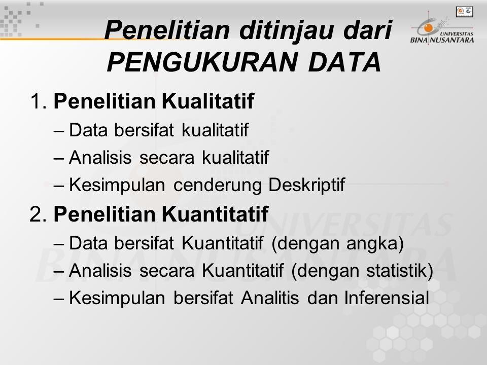 Penelitian ditinjau dari PENGUKURAN DATA