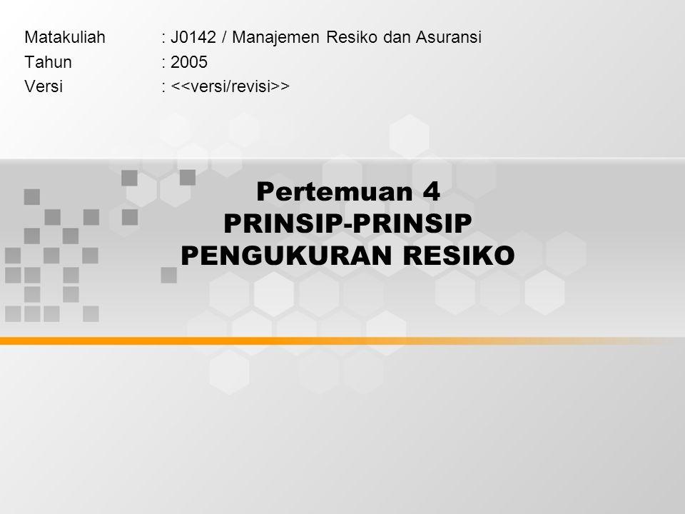 Pertemuan 4 PRINSIP-PRINSIP PENGUKURAN RESIKO