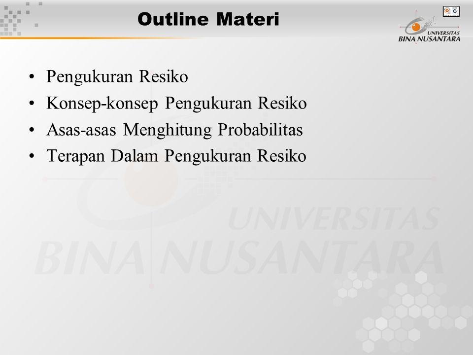 Outline Materi Pengukuran Resiko. Konsep-konsep Pengukuran Resiko. Asas-asas Menghitung Probabilitas.