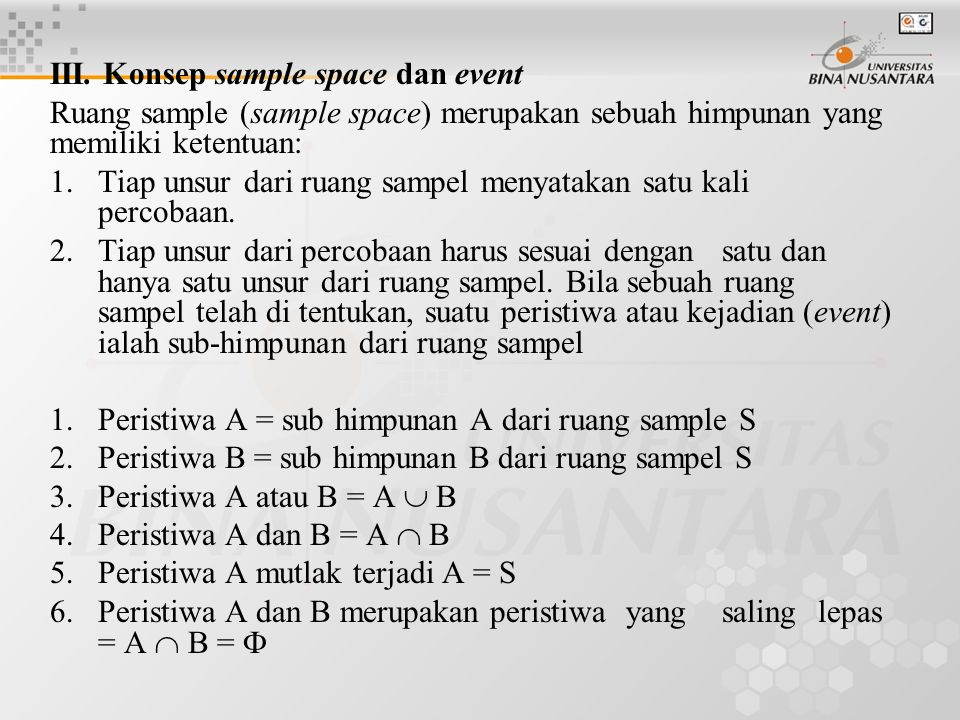 III. Konsep sample space dan event