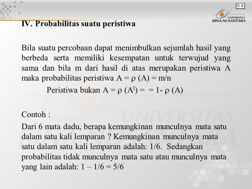 IV. Probabilitas suatu peristiwa