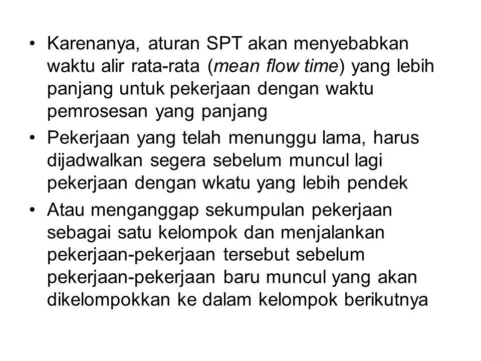 Karenanya, aturan SPT akan menyebabkan waktu alir rata-rata (mean flow time) yang lebih panjang untuk pekerjaan dengan waktu pemrosesan yang panjang