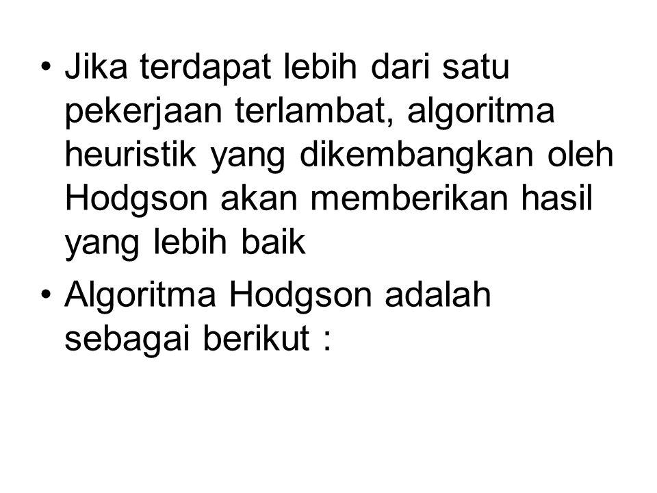 Jika terdapat lebih dari satu pekerjaan terlambat, algoritma heuristik yang dikembangkan oleh Hodgson akan memberikan hasil yang lebih baik