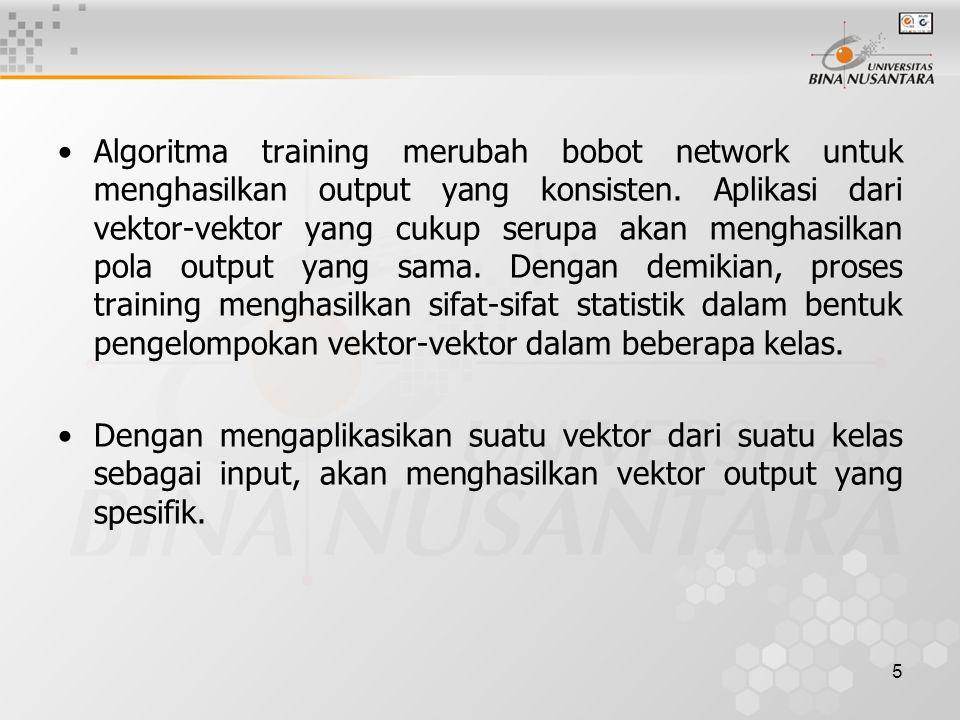 Algoritma training merubah bobot network untuk menghasilkan output yang konsisten. Aplikasi dari vektor-vektor yang cukup serupa akan menghasilkan pola output yang sama. Dengan demikian, proses training menghasilkan sifat-sifat statistik dalam bentuk pengelompokan vektor-vektor dalam beberapa kelas.