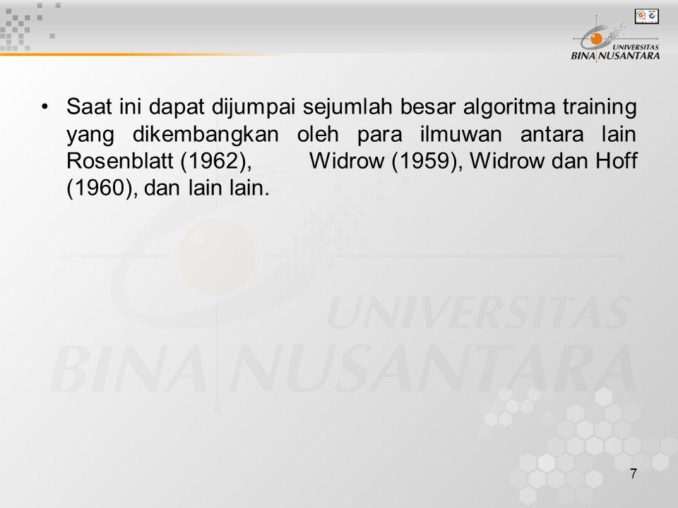 Saat ini dapat dijumpai sejumlah besar algoritma training yang dikembangkan oleh para ilmuwan antara lain Rosenblatt (1962), Widrow (1959), Widrow dan Hoff (1960), dan lain lain.