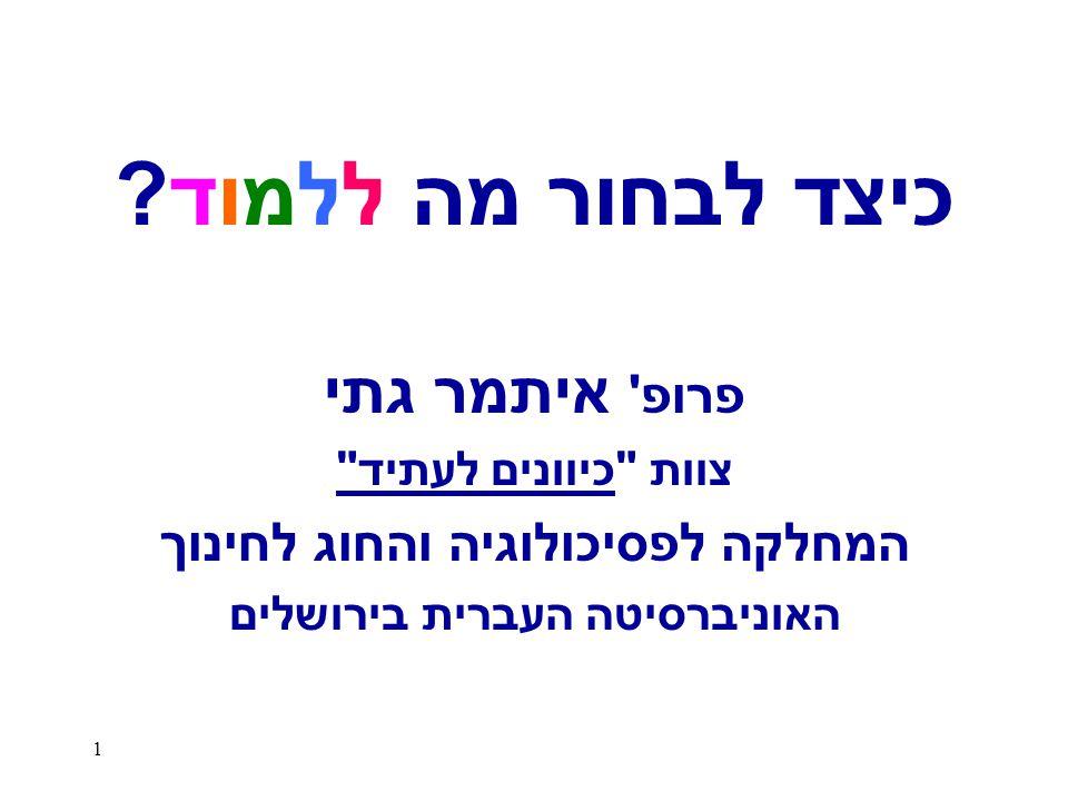 המחלקה לפסיכולוגיה והחוג לחינוך האוניברסיטה העברית בירושלים