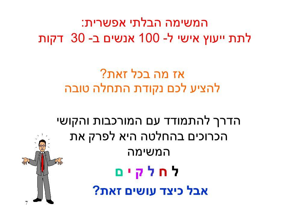 המשימה הבלתי אפשרית: לתת ייעוץ אישי ל- 100 אנשים ב- 30 דקות