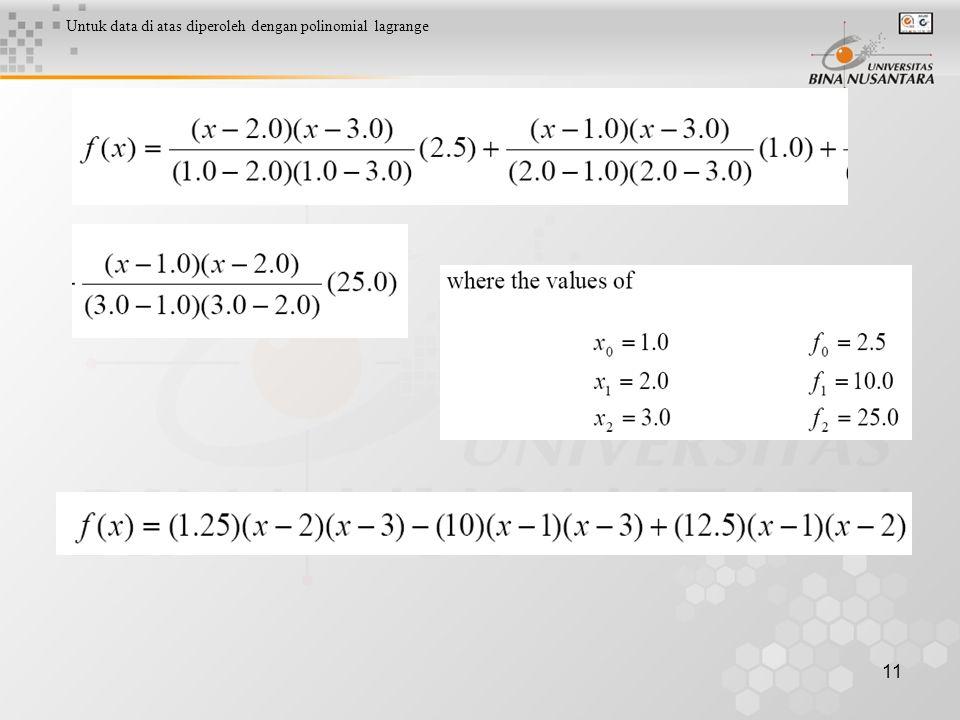 Untuk data di atas diperoleh dengan polinomial lagrange