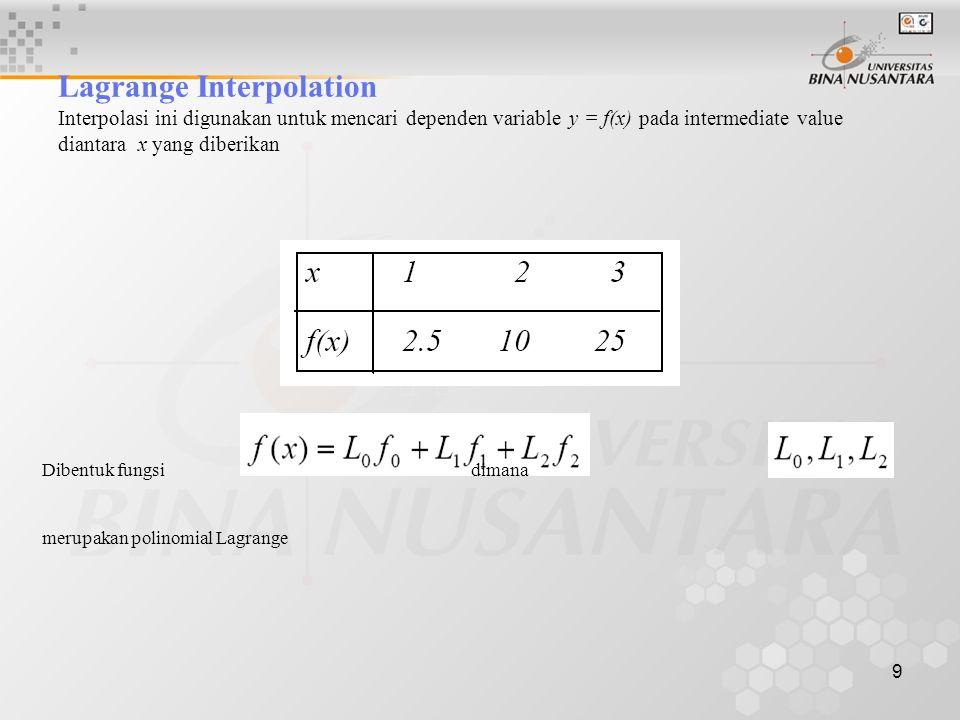 Lagrange Interpolation Interpolasi ini digunakan untuk mencari dependen variable y = f(x) pada intermediate value diantara x yang diberikan
