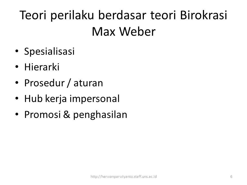 Teori perilaku berdasar teori Birokrasi Max Weber