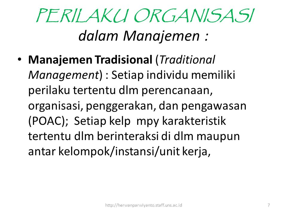 PERILAKU ORGANISASI dalam Manajemen :