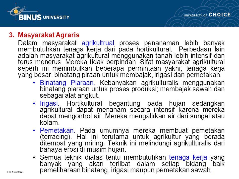 3. Masyarakat Agraris