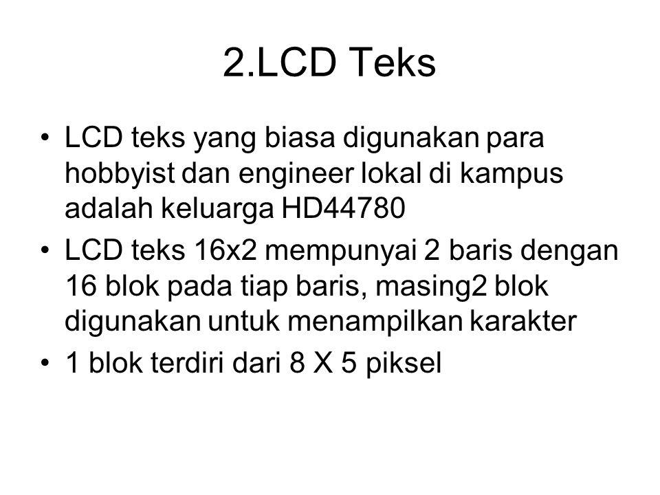 2.LCD Teks LCD teks yang biasa digunakan para hobbyist dan engineer lokal di kampus adalah keluarga HD44780.