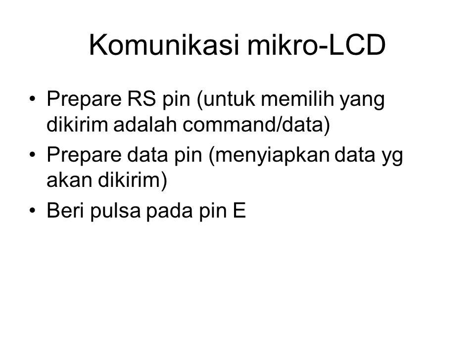 Komunikasi mikro-LCD Prepare RS pin (untuk memilih yang dikirim adalah command/data) Prepare data pin (menyiapkan data yg akan dikirim)