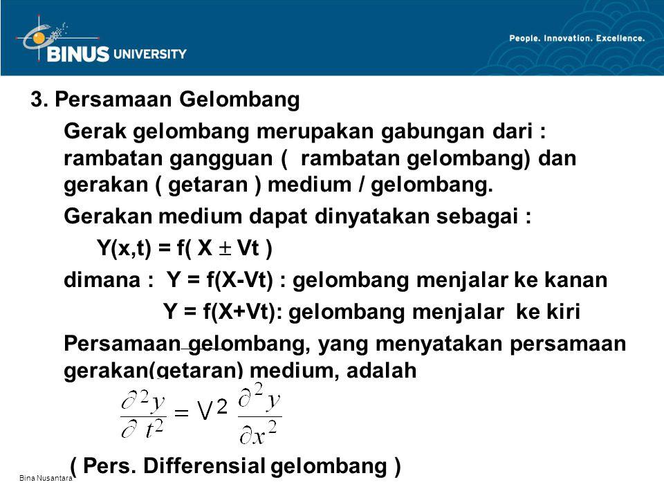 Gerakan medium dapat dinyatakan sebagai : Y(x,t) = f( X  Vt )