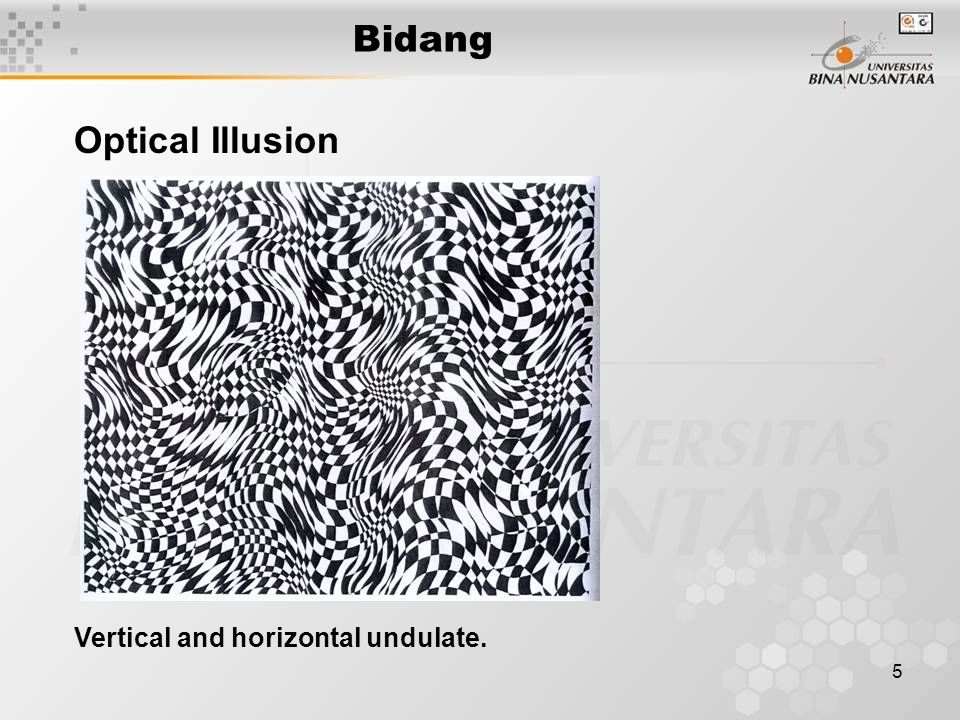 Bidang Optical Illusion Vertical and horizontal undulate.
