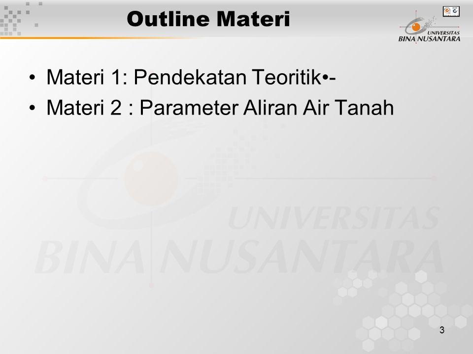 Outline Materi Materi 1: Pendekatan Teoritik•- Materi 2 : Parameter Aliran Air Tanah