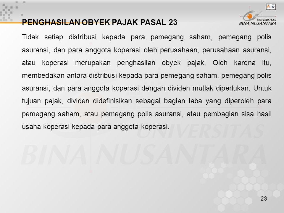 PENGHASILAN OBYEK PAJAK PASAL 23