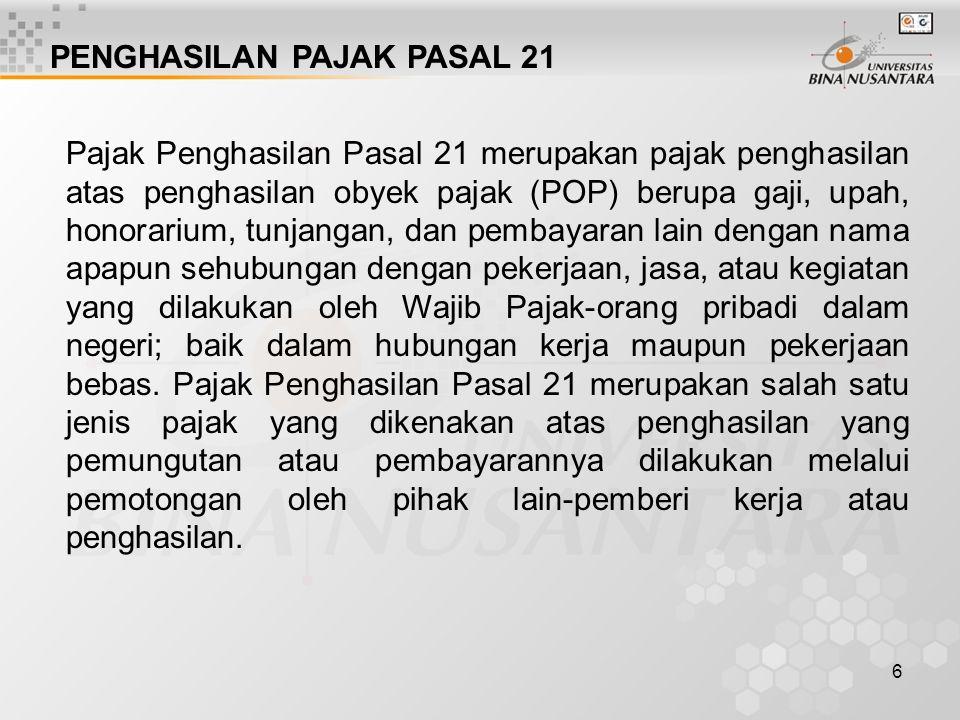 PENGHASILAN PAJAK PASAL 21