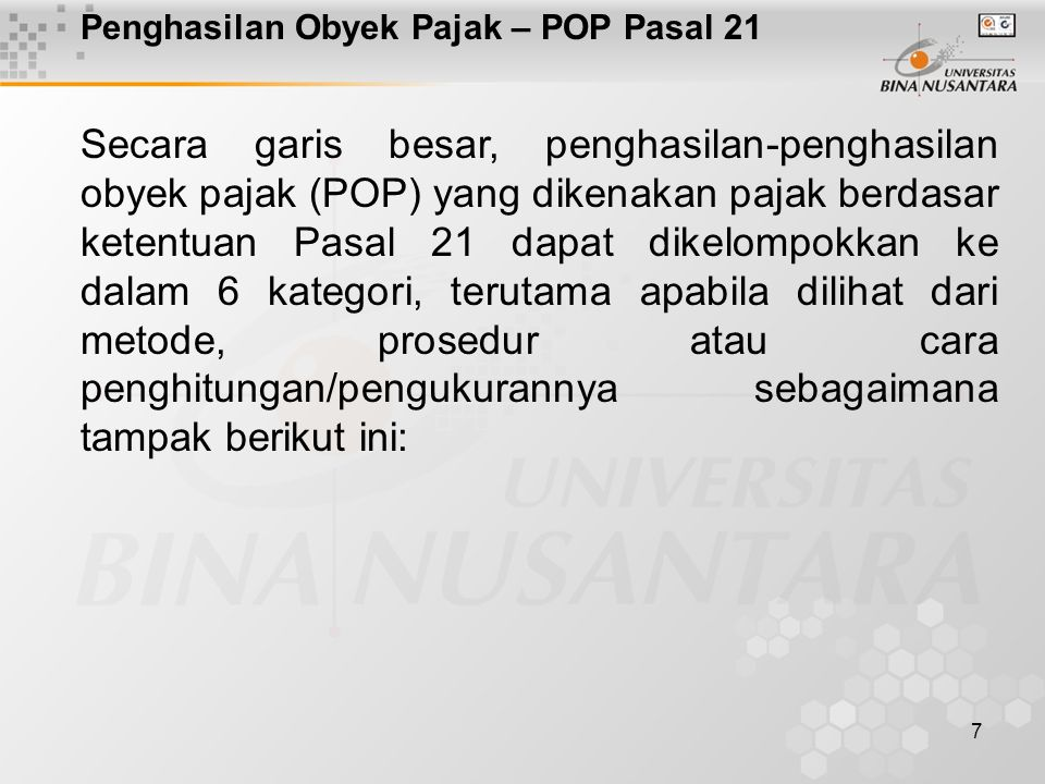 Penghasilan Obyek Pajak – POP Pasal 21