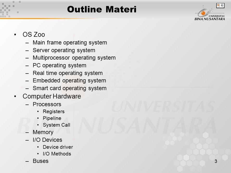Outline Materi OS Zoo Computer Hardware Main frame operating system