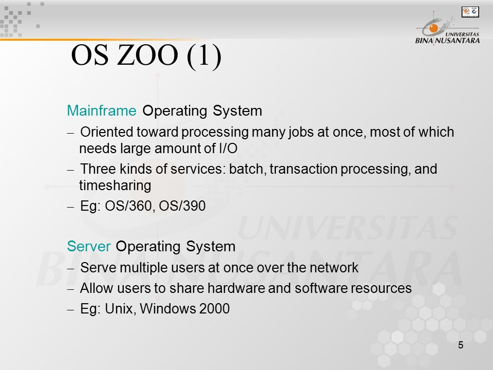 OS ZOO (1) Mainframe Operating System Server Operating System