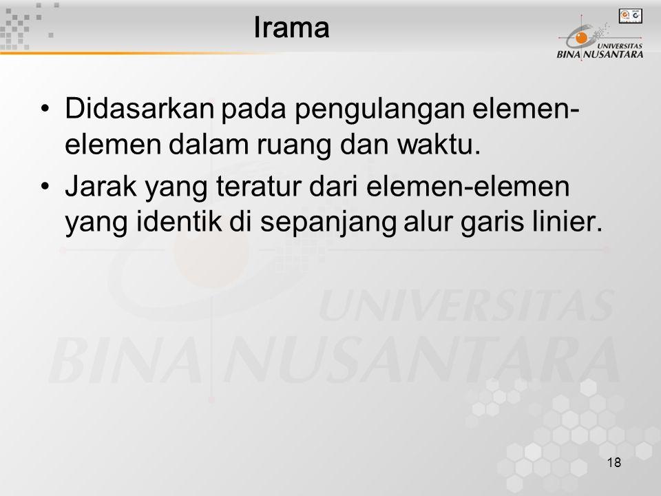 Irama Didasarkan pada pengulangan elemen-elemen dalam ruang dan waktu.